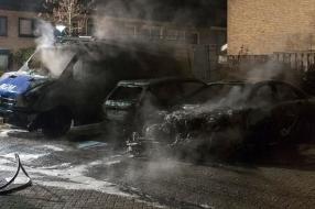 Nieuws: Twee auto's en een bestelbus door brand verwoest in Grave: '